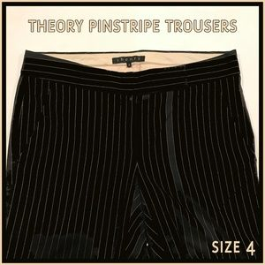 🐣 Theory Pinstripe Black Wide Leg Trousers 4